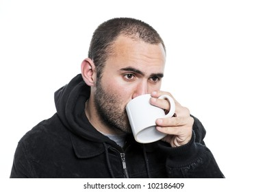 lonely man drinking tea in a cup