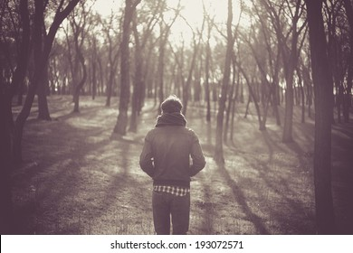 Lonely man in a forest