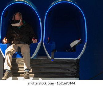 lonely man on Virtual Reality VR machine searches for a partner