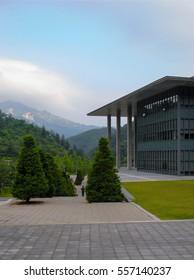 Lonely man in the park landscape, Seoul Korea