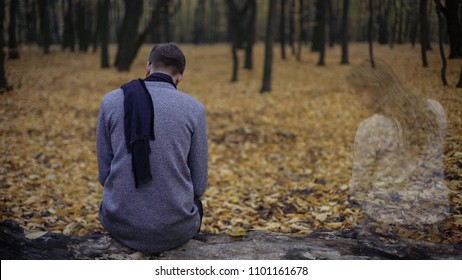 Lonely man returning to place of dates, missing girlfriend, loss of beloved