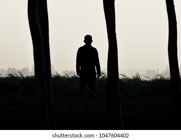 A lonely man standing in the forest isolated unique stock photograph