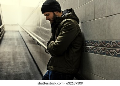 Lonely man suffering failure life