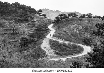 Lonely man walking on a road in mountain area