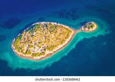 Lonely Mediterranean island aerial view, Zadar archipelago of Croatia
