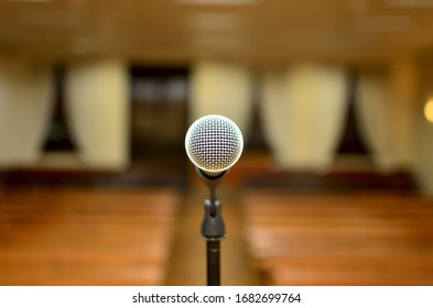lonely microphone in front of the empty room
