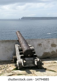 a lonely old cannon in the cape st. vincent, the most southwestern point of europe