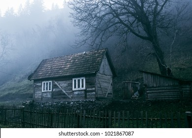 lonely old gloomy house under the black tree in the mountains