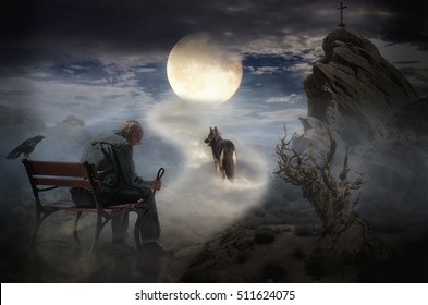 lonely old man and his faithful dog walking on the lunar road