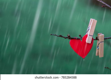 Lonely paper heart of red color hanging on a branch. Rainy wheather. Saint Valentine's Day concept.