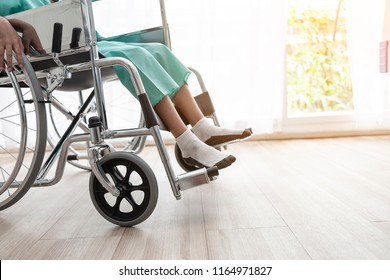 Lonely Patient or Disabled children in room. Adaptation of the patient or the disabled Equality and Human rights concept.