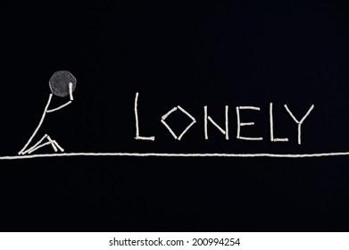 Lonely person, desperate person, unusual concept