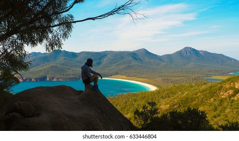 lonely person at Freycinet National Park in Tasmania