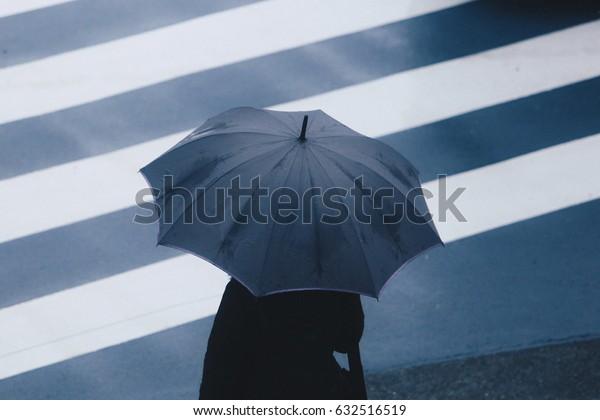 Lonely person in raining season under umbrella