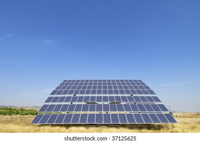 lonely photovoltaic panel with blue sky