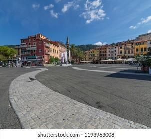 Lonely pigeon in Piazza Garibaldi in Lerici, La Spezia, Liguria, Italy