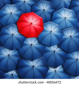 Lonely red umbrella over blue umbrellas. Light coming out of umbrellas.
