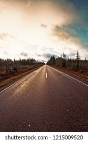 A lonely road leads through the forest to the horizon under the dramatic autumn skies at the rural Finland.