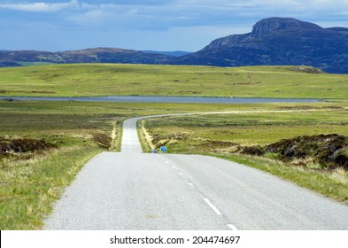Lonely Road near the village Tongue, Scotland