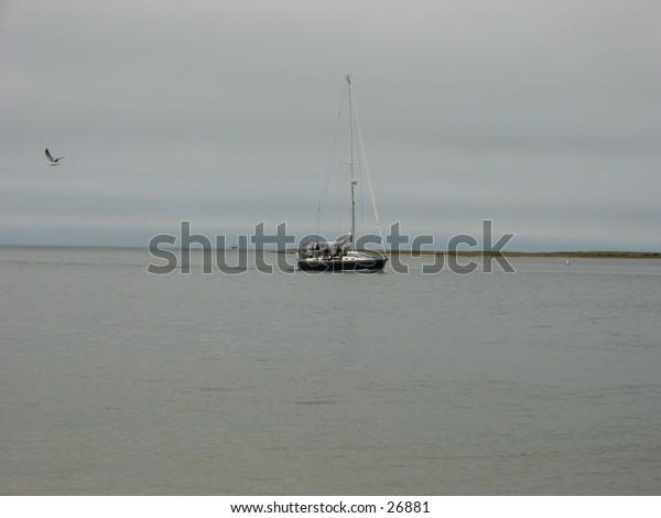 lonely sailboat at sea
