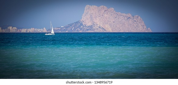 Lonely sailboat seen from Albir beach