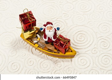 Lonely Santa on the boat with his gifts