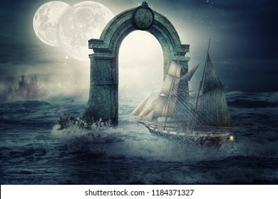 Lonely schooner passes under the old stone arch with round clock on top. The two bright moons hang low in the sky giving cold dead illumination. Port is seen in the night haze
