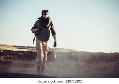 The lonely soldier goes on the road with a dagger