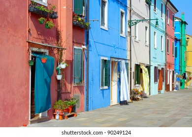 Lonely sunny side streets on the island of Burano islands of the venice lagoon