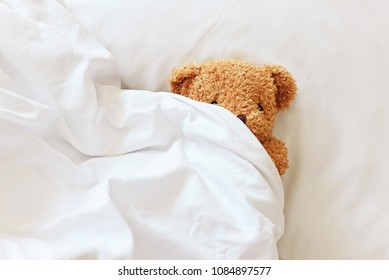 Lonely Teddy Bear lying on the bed. Concept about waiting for someone and loneliness.Hide and Seek.Relationship with love.Cute toy with copy space for design work.Expectancy.Lazy day at home.