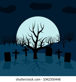 A lonely tree in the cemetery at night in front of the Moon. Background for Halloween