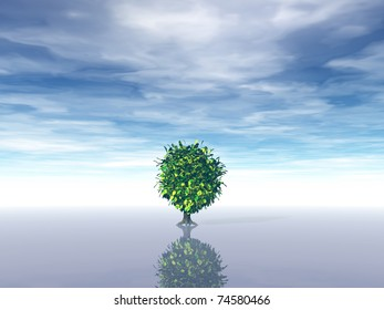 lonely tree under cloudy blue sky - 3d illustration