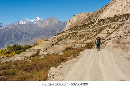 Lonely trekker walking on a road.