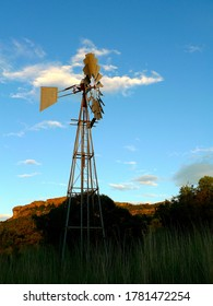 A lonely windpump in the veld