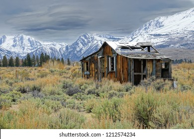 Lonely wooden cabin decaying in the rugged wilderness under the snowy mountains in California. Picturesque view of an abandoned hut destroyed by the elements in the ruthless American wilderness.