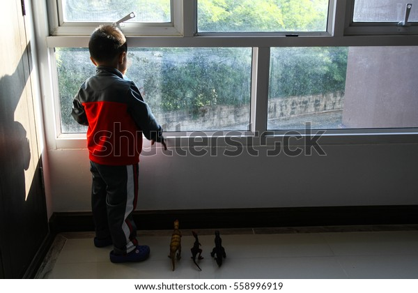 A lonely young boy with his dinosaur toys standing and looking out of a mirror window