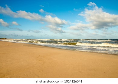 lonesome beach of the Baltic Sea in Poland, Ustka