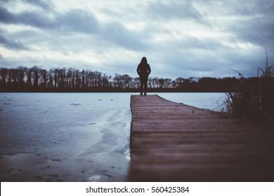 Lonesome Girl At Lake
