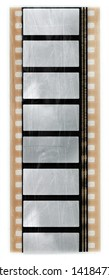 long 35mm film movie strip with empty cells and scratches, just blend in your work via blend mode