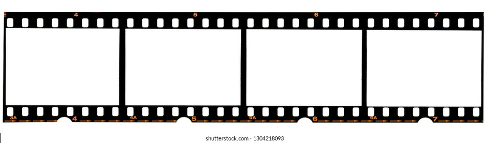 long 35mm film strip or 135 film material on white background, real scan no macro photo, 4 empty photo placeholder