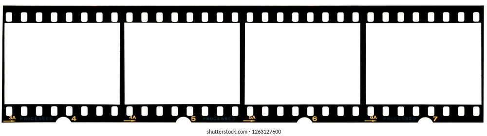 long 35mm film strip or frames on white, free empty film photo placeholder