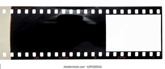 long 35mm film strip or negative on white, first blank and empty frame of the role, place your photo content here, dia positive material