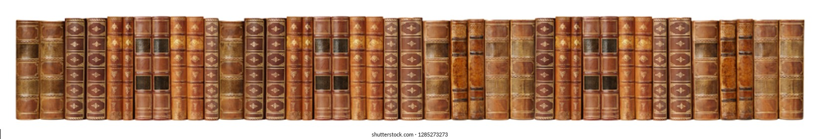 Long banner of row of antique books in a leather hardcover isolated on white background