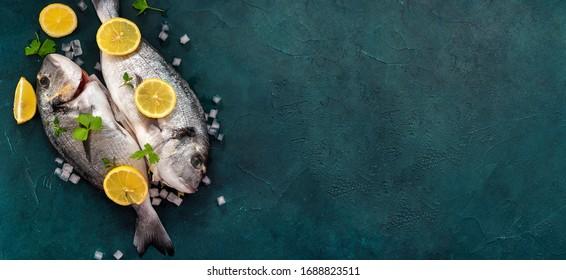 Long banner with zwo dorado fishes on dark