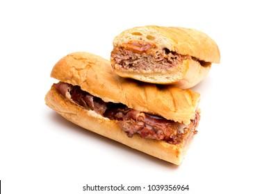 Long BBQ Brisket Sandwich on a White Background
