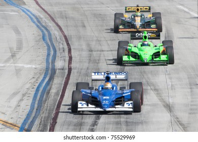 LONG BEACH, CA. - APR 17: Oriol Servia in the #2 car leads Danica Patrick & Tony Kanaan during the Toyota Grand Prix of Long Beach on April 17, 2011 in Long Beach, CA.