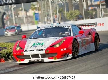 LONG BEACH, CA - APR 20: Team Sweedler / Bell in a Ferrari F458 at the AMLS  GP in Long Beach, CA on Apr 20, 2013
