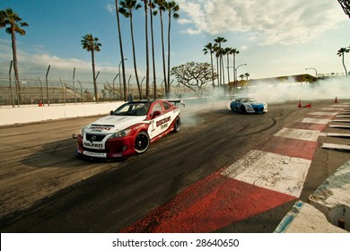 LONG BEACH, CA - APRIL 10 :Daijiro Yoshihara (L) in drifting action for qualification during 2009 Formula Drift April 10, 2009 in Long Beach. This the sixth professional championship season.