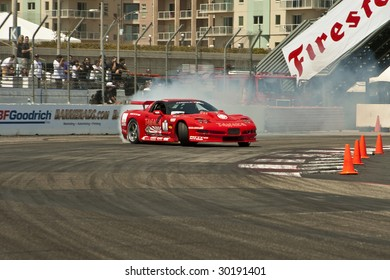 LONG BEACH, CA - APRIL 11: Conrad Grunewald in drifting action for Grand Prize during 2009 Formula Drift April 11, 2009 in Long Beach.