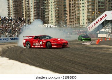 LONG BEACH, CA - APRIL 11 : Conrad Grunewald in drifting action for grand prize during 2009 Formula Drift April 11, 2009 in Long Beach.